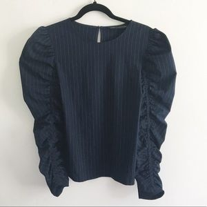 Zara Woman Ruched Sleeve Blouse